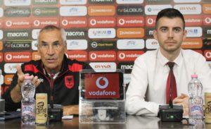 edoardo reja dhe erdis cepele ne konference per shtyp para ndeshjes me turqine dhe moldavine 6 tetor 2019